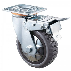 Heavy Duty - Chrome plated housing with brown TPE wheel