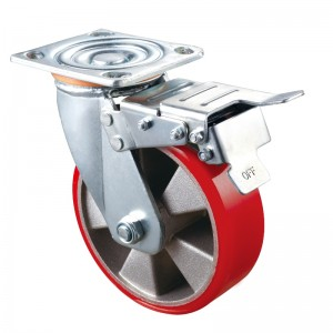 Heavy Duty - Chrome plated housing with red TPE wheel