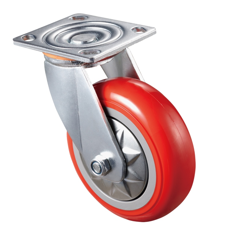 Heavy Duty - Chrome plated housing with red3 TPE wheel